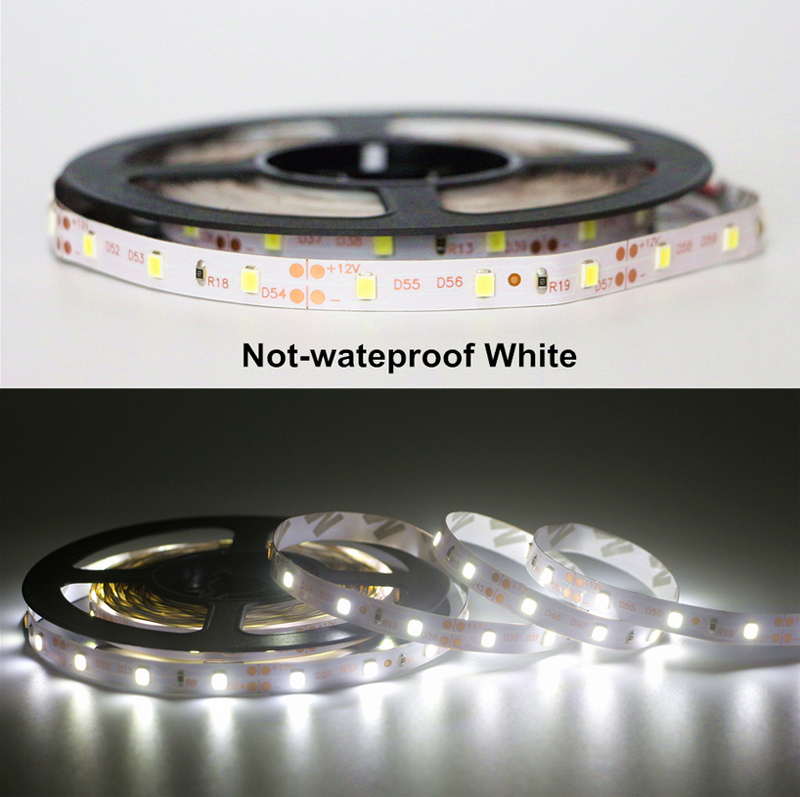 12V 5m LED Strip Light Dimmable with RF Remote Dimmer Waterproof IP65 Daylight White 600K LED Rope Light LED Tape Light