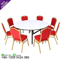 Cheap furniture hotel banquet folding dining table and stackable chairs for wedding