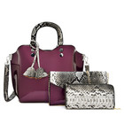 python patent leather handbag set serpentine 3 pcs handbag set