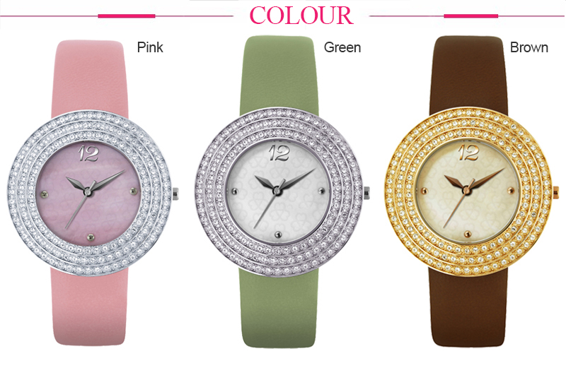 Wholesale stainless steel watch case genuine leather diamond luxury watch for women