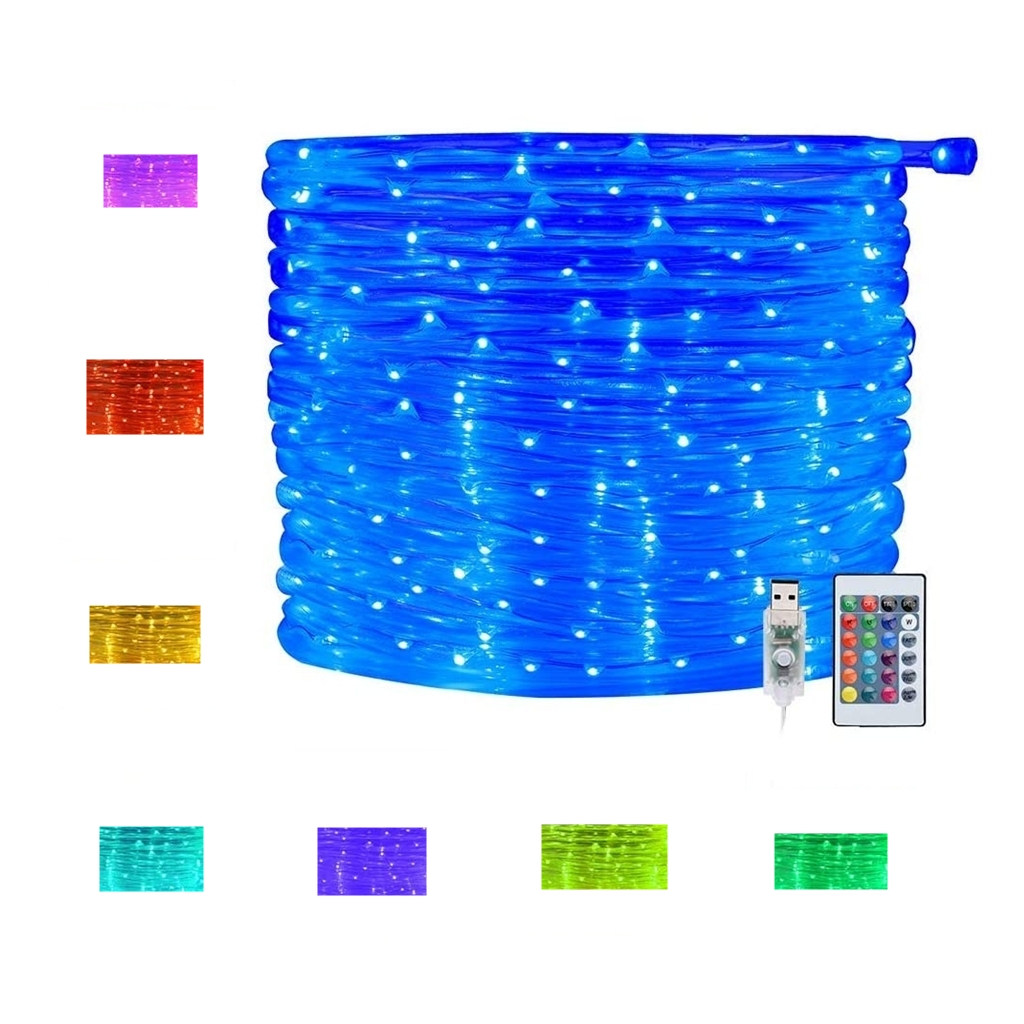 100 LED Rope Lights 33ft 16 Colors Changing Indoor Lights USB Powered Multi Color Twinkle Rope Tube Fairy Lights with Remote