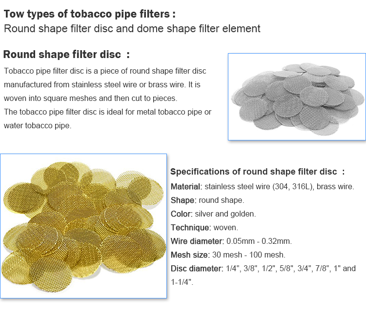 Stainless steel tobacco smoke screen pipe metal filters