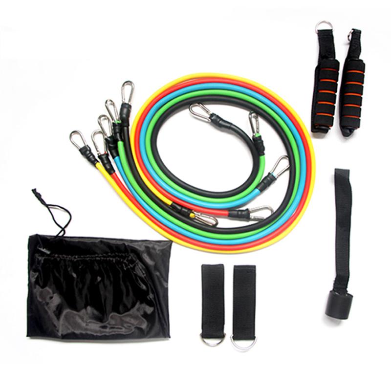 Wholesale custom Fitness 11 piece 11 Pcs Pc Resistance Bands Tubes Set with handles