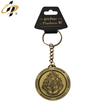 Wholesale cheap metal custom bronze raised logo retractable keychain/keyring