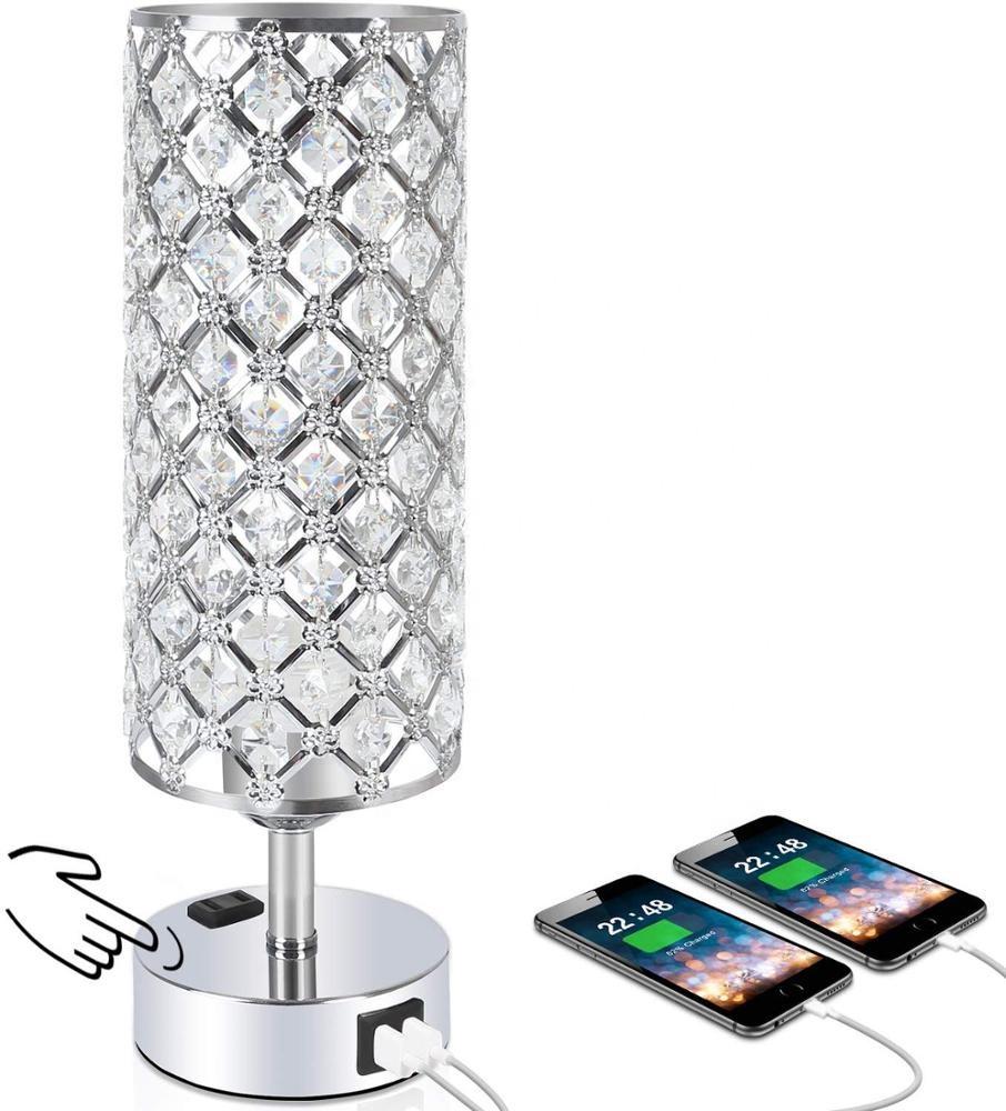 3-сторонний выход затемнения сенсорное управление с украшением в виде кристаллов настольные лампы с двойной Быстрая зарядка через USB портами и розетку переменного тока для спальни