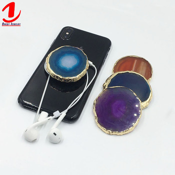 Mini Hand Golden Rim Edge Custom Mobile Elastic Phone Grip Handle Finger Grip Holder Stand Sticker Socket