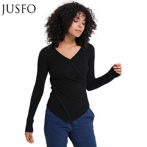 JUSFO High Quality Fitness Acrylic V-Neck Long Sleeves Women Sports Yoga Gym T-Shirt Yoga Tops