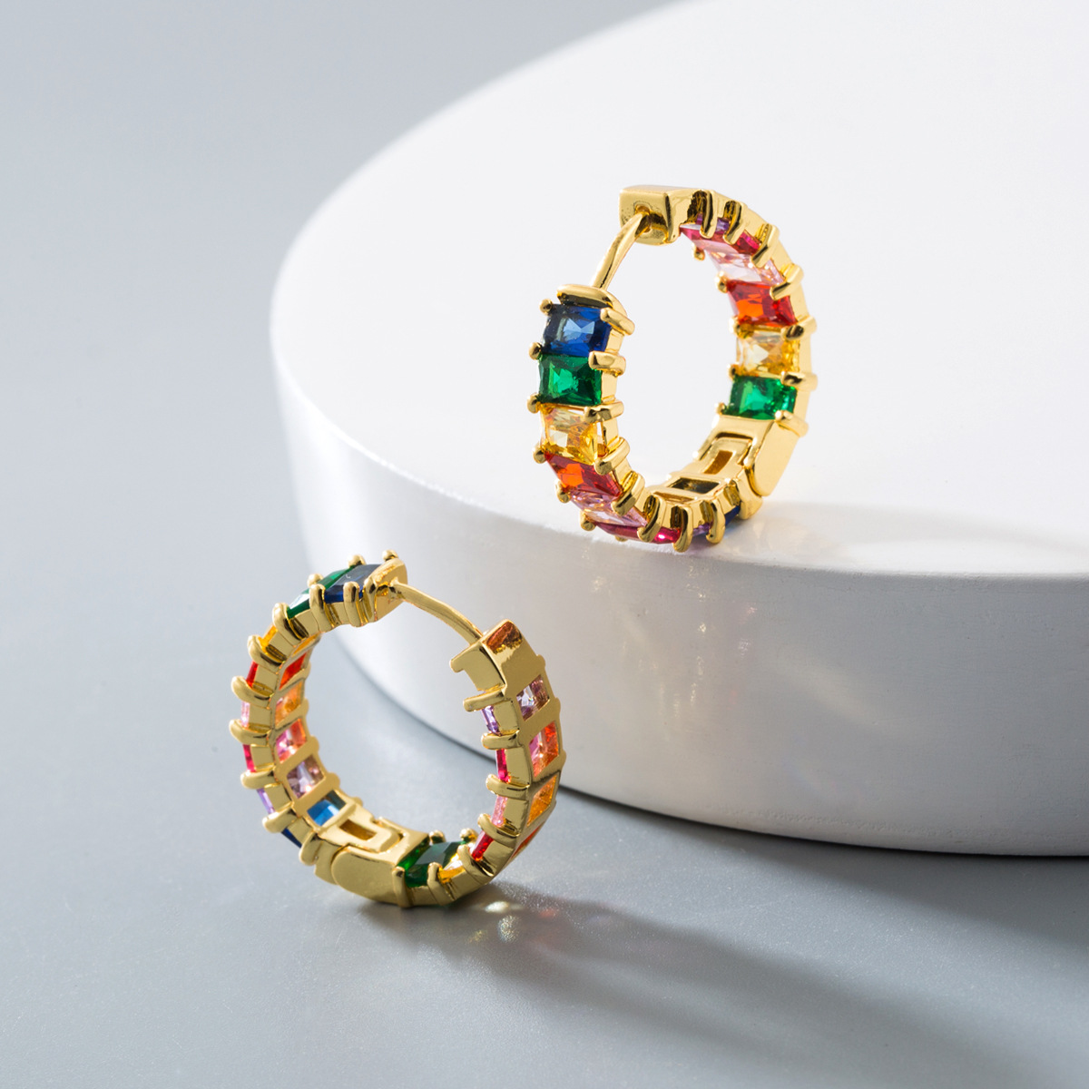 High Quality Geometric Square Cubic Zirconia CZ Stud Earrings Colorful Round CZ Crystal Hoop Earrings For Party