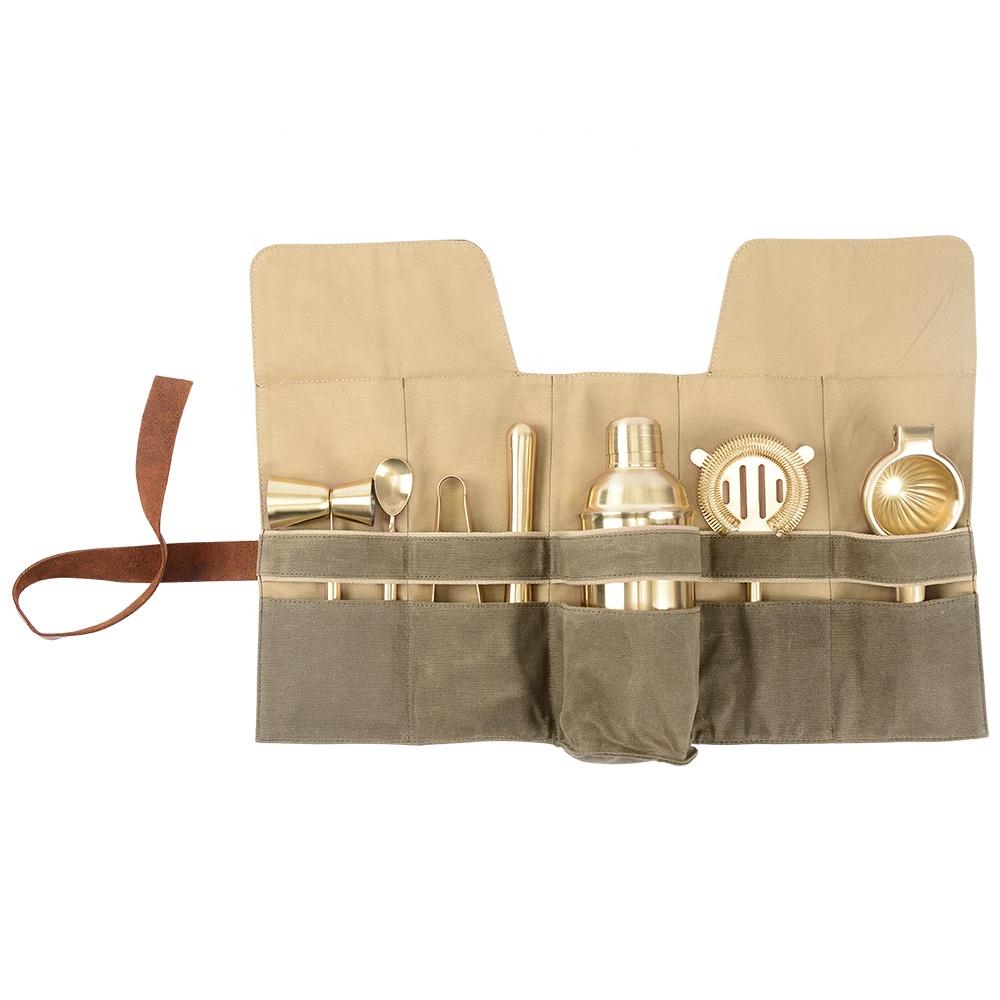 Gold stainless steel Bartender set roll bag Bartender Travel Bag for Cocktail Kits