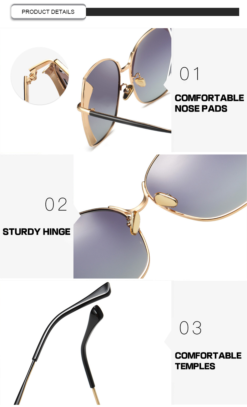 Colorful Oversized Gradient Square Cat Eye Women Polarized Sunglasses