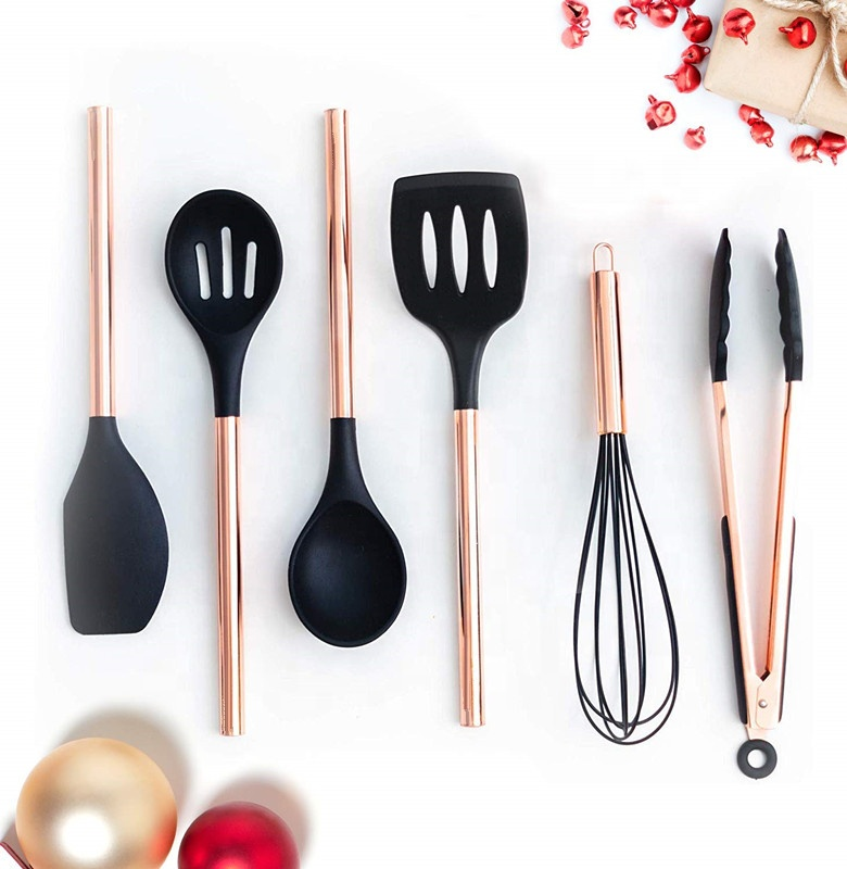 Black Silicone and Copper Cooking Utensils for Modern Cooking and Serving, Stainless Steel Copper Serving Utensils Ideal Spatula