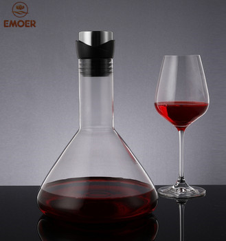 1400ml Wholesale Stainless Steel Flow Lid Red Wine and Whiskey Crystal Glass Decanter