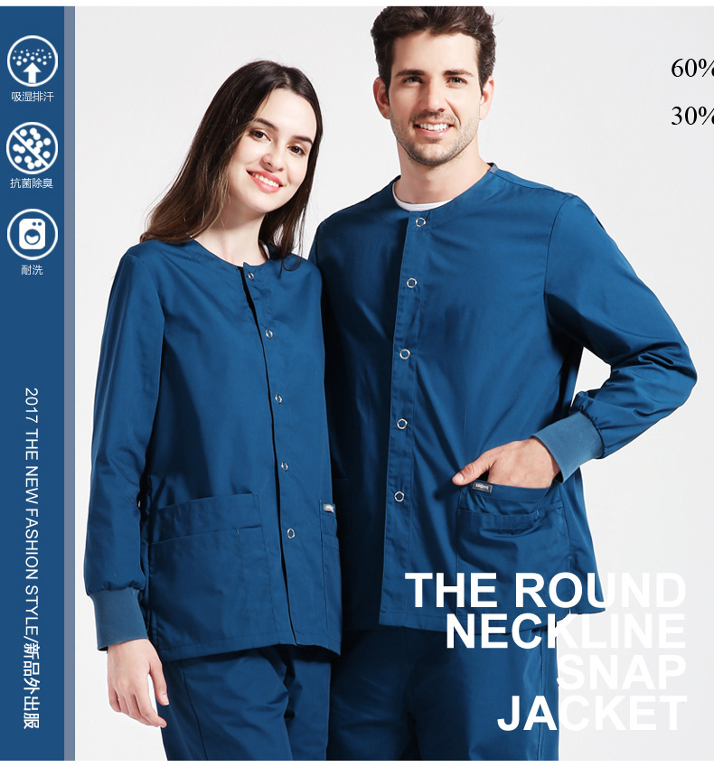 Hospital Uniform Round-neck Placket with Button opening Functional Medical Scrub Sets Doctor Nurse Work Wear Top & Pant 2pcs Set
