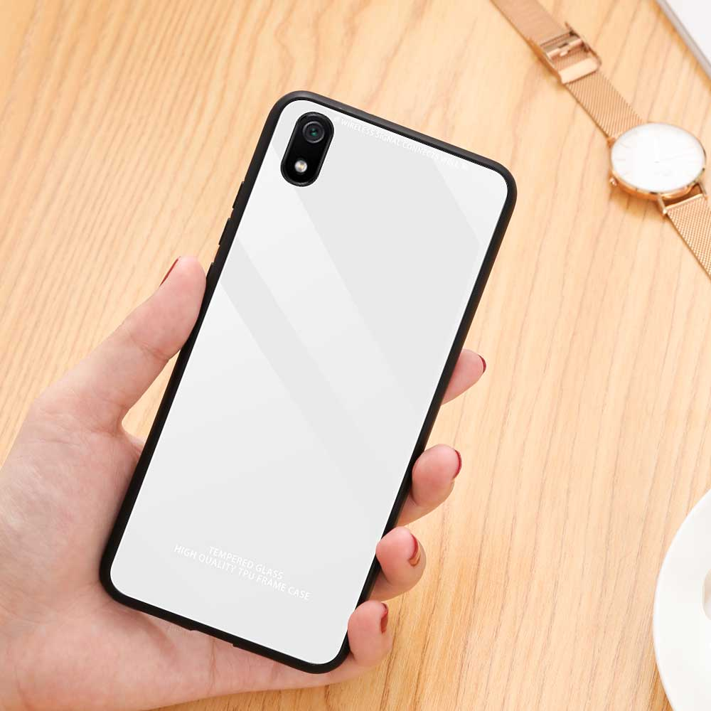 Best Selling Pure Tempered Glass Phone Cases Anti-scratch Anti-dirty Shell for Xiaomi Redmi Note 7