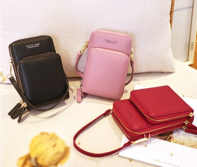 New women's purse leather minimal zip wallet phone pouch cellphone shoulder leather bag pu cell phone crossbody bag