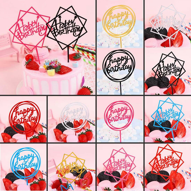 Happy Birthday Cake Topper Acrylic Home Decor Baking Cake Toppers Card Wedding Party Decor Supplies Cupcake Toppers