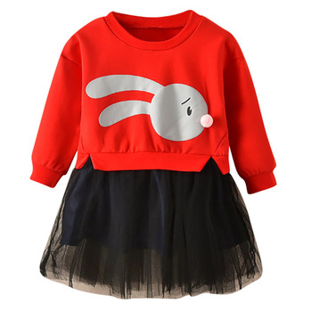 Hao Baby Spring Autumn Children clothes Skirt Middle Small Girl Long Sleeve kids girls Pieces Dress