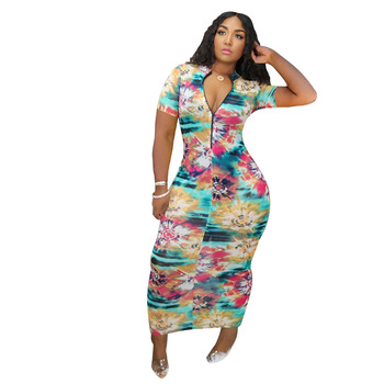 New style tie dye printed fabric sexy color-mapped frock zipper opening and closing design