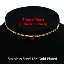 Мужская и женская цепочка из нержавеющей стали, плоская цепочка-чокер длиной 35 см, Золотистое Ожерелье-чокер, ювелирные изделия(Китай)