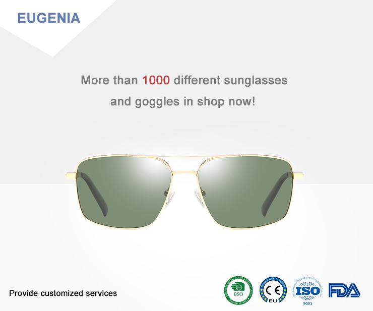 EUGENIA Promotional Designers Travelling Men Fashion Stainless Steel Sunglasses
