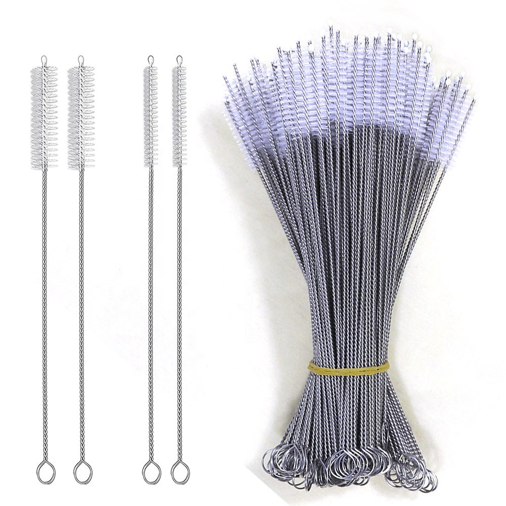Custom pig hair all eco frindly brush 230mm stainless steel 304 handle straw cleaning nylon brushes фото