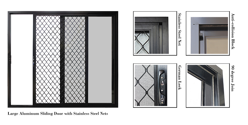Large Oversized External Exterior Double Wide Aluminium Sliding Barn Patio Glass Doors for Sale