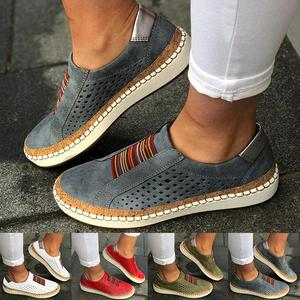 Women's Shoes Fashion Casual Hollow-Out Round Toe Slip On Shoes Flat Sneakers Female Platform Shoes Sneakers For Women