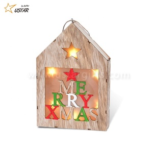 LED Light Up Wooden House Cottage Christmas Tree Hanging Pendant Ornament Decoration Xmas Party Hanging Decor Gift