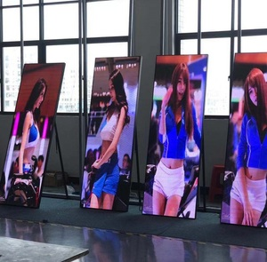 wireless ultra thin P2.5 P3 P4 airport/shopping mall full color outdoor indoor led poster / floor standing led display In stock