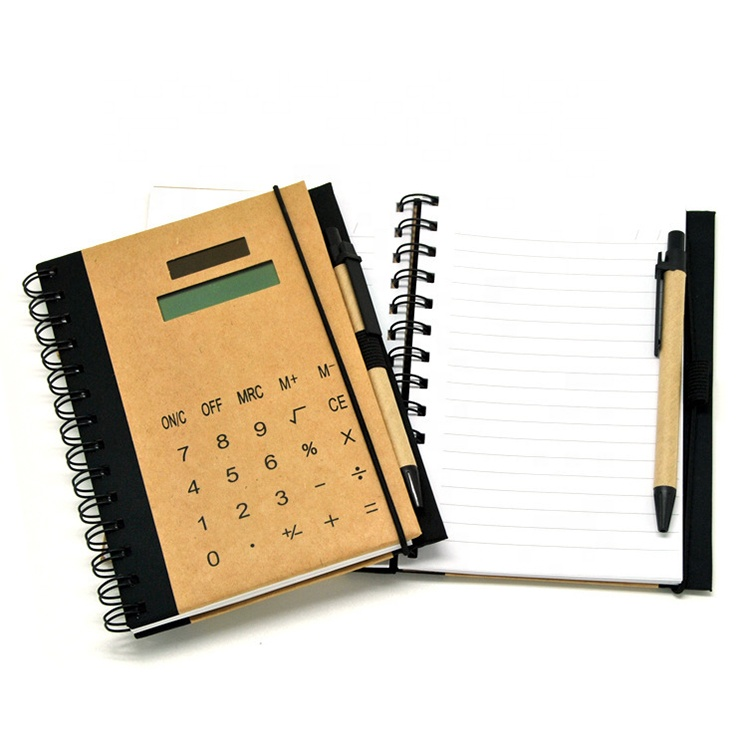 electronic notebook with calculator pen promotional gift customized private label logo 8 digit solar power notepad calculator