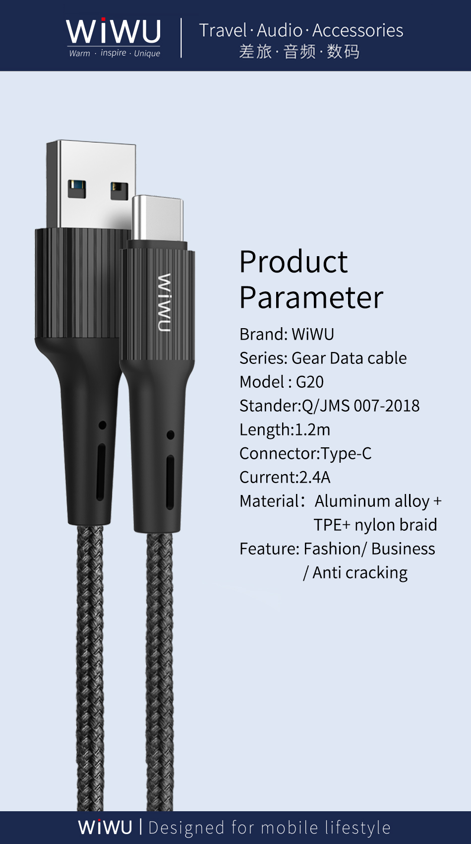 WiWU G20 USB C to USB Nylon Braided Material for iPhone Type C Charging Cable