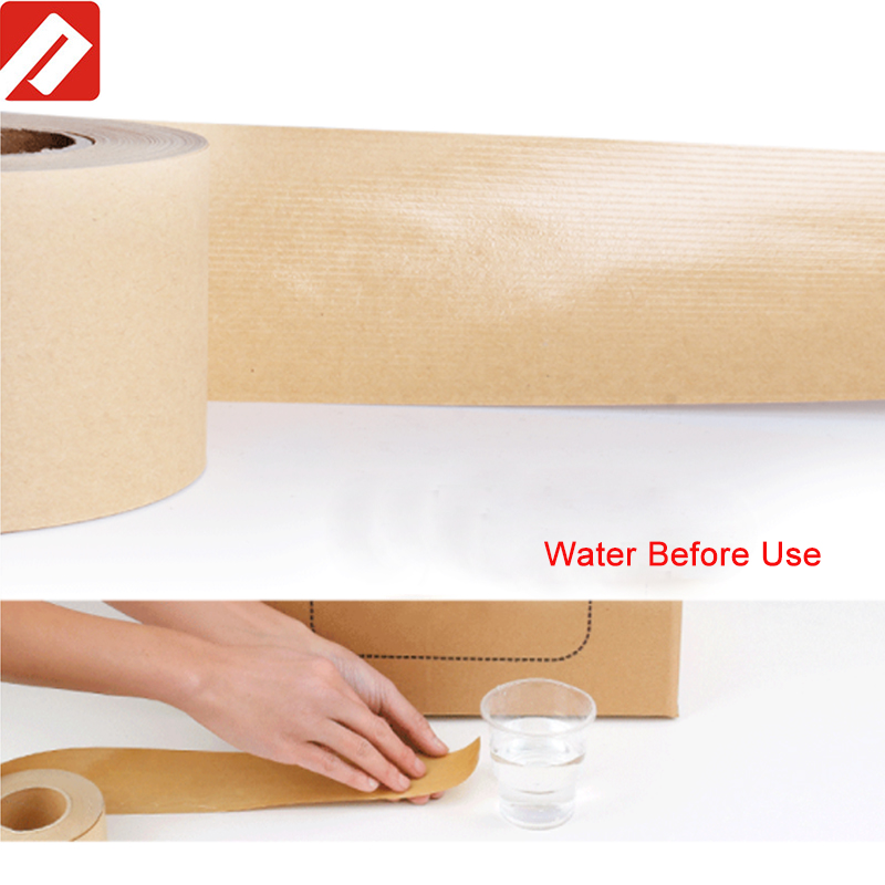Self adhesive one side glue paper waterfree kraft tape for carton box packing
