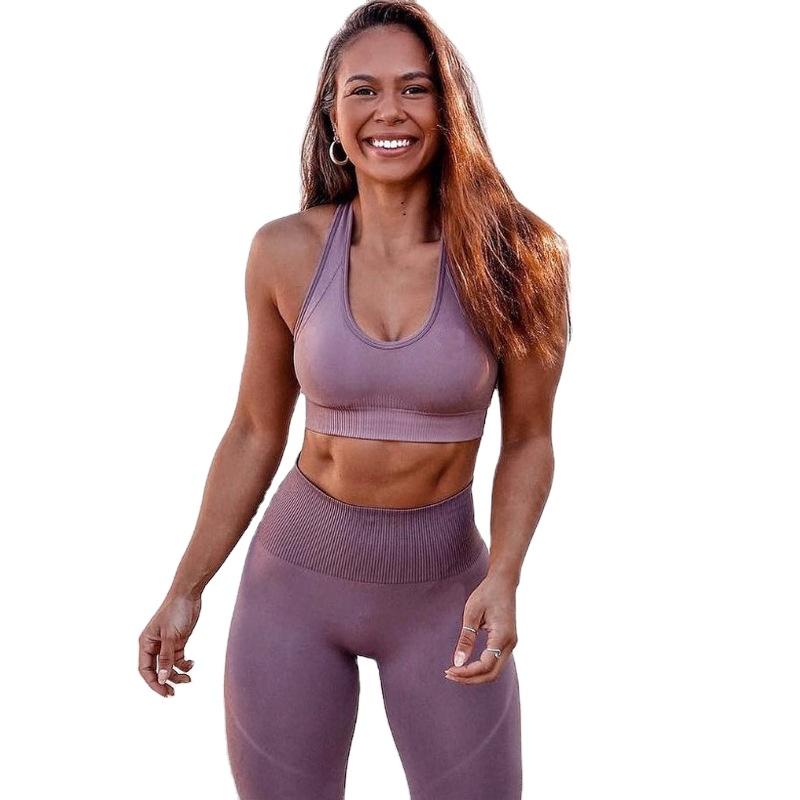 2020 カスタムロゴ体操服フィットネスウエアアクティブトレーニングブラジャーとのレギンススーツレディース