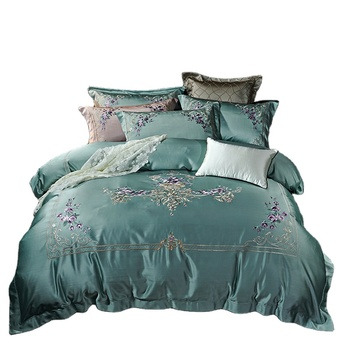 luxury hotel embroidery satin silk bed sheet bedding sets duvet cover set/comforter sets luxury bedding