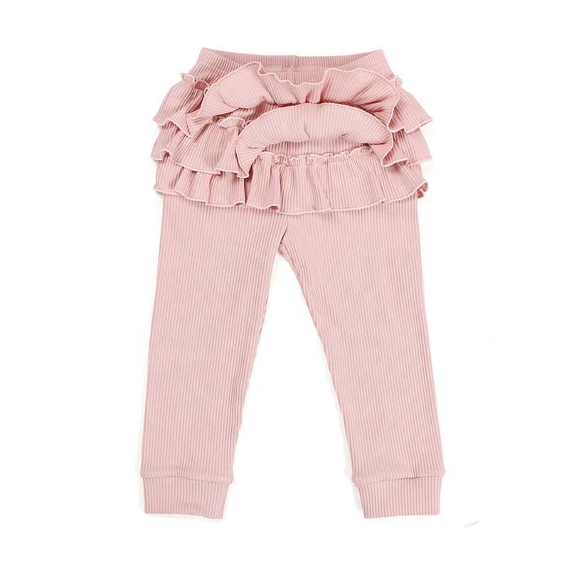 Baby clothes kids clothing cuff bottom cotton ribbed ruffle girl pant legging