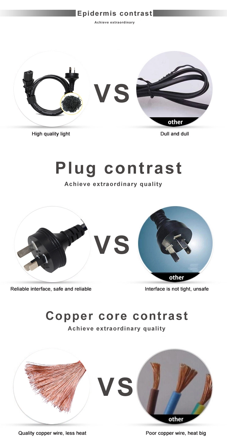 SAA Certification Australian 3 Pin Plug to 90 degree Right Angled IEC 320 C13 AC Power Cord Cable