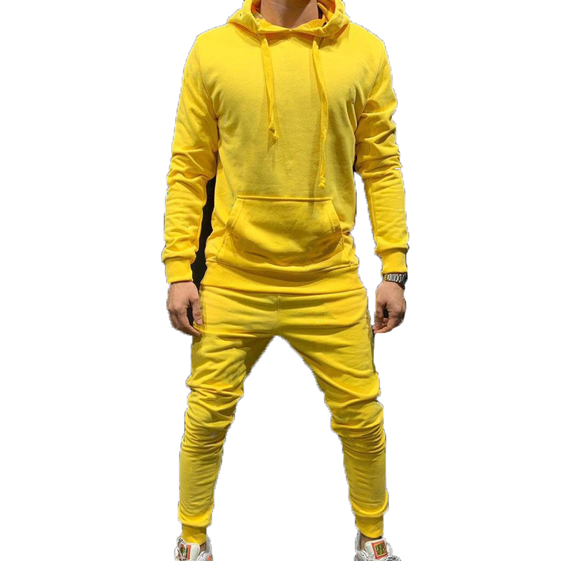 2 Pieces Sets Tracksuit Men New Brand Autumn Hooded Sweatshirt +Drawstring Pants For Male