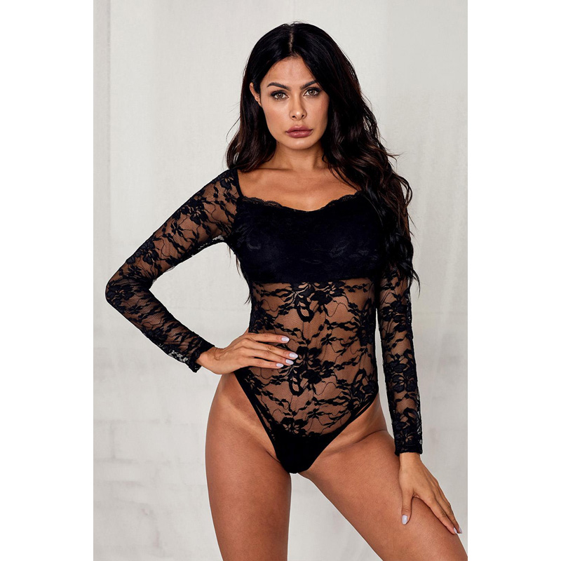 2020 New Arrivals Black Long Sleeve Lace Sexy Bodysuits for Women