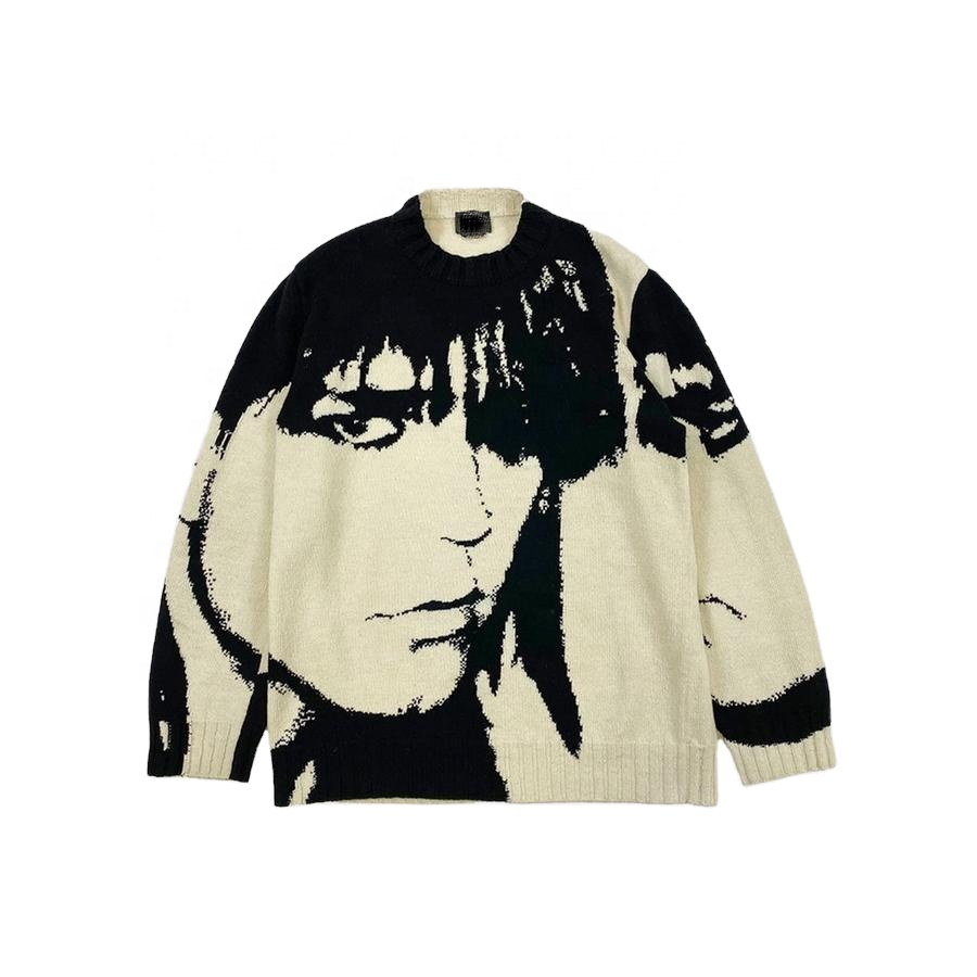 DiZNEW Wholesale Mens Jacquard Acrylic Cotton Knit Sweater Custom