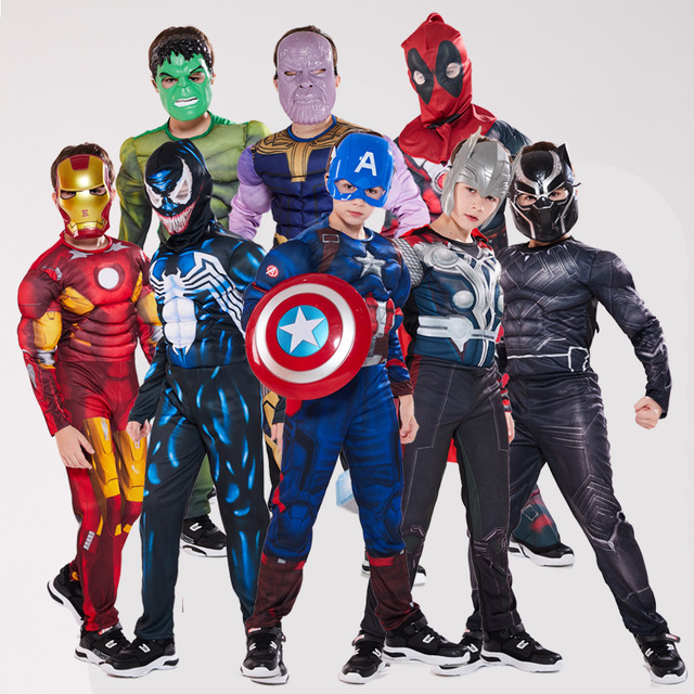 Custom Halloween Jongens kinderen Party Spier Pak Marvel Movie Super Heroes Cosplay Figuur Kostuums Voor Kinderen