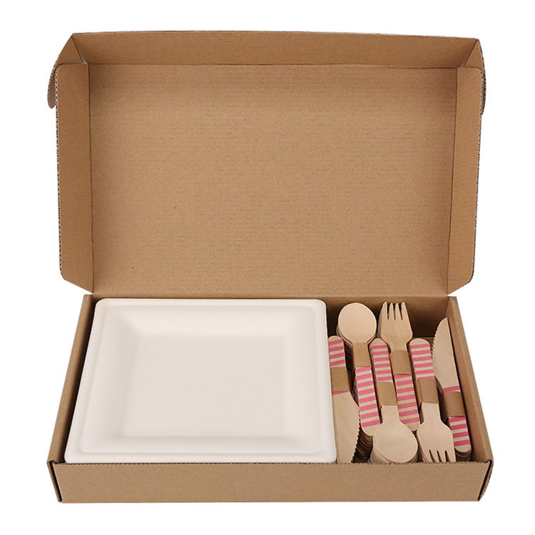 25-people dinner set, disposable natural materials tableware bagasse <strong>plate</strong> 10&quot; and wooden cutlery set DDP US