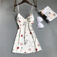 Женское кружевное белье, сексуальное ночное белье из искусственного шелка с глубоким v-образным вырезом и принтом клубники, ночная рубашка ...(Китай)