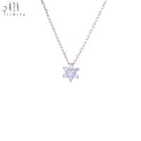 Best Selling Fashion Jewelry 18K Rose Gold Necklace Diamond Snow Pendant Chain For Women