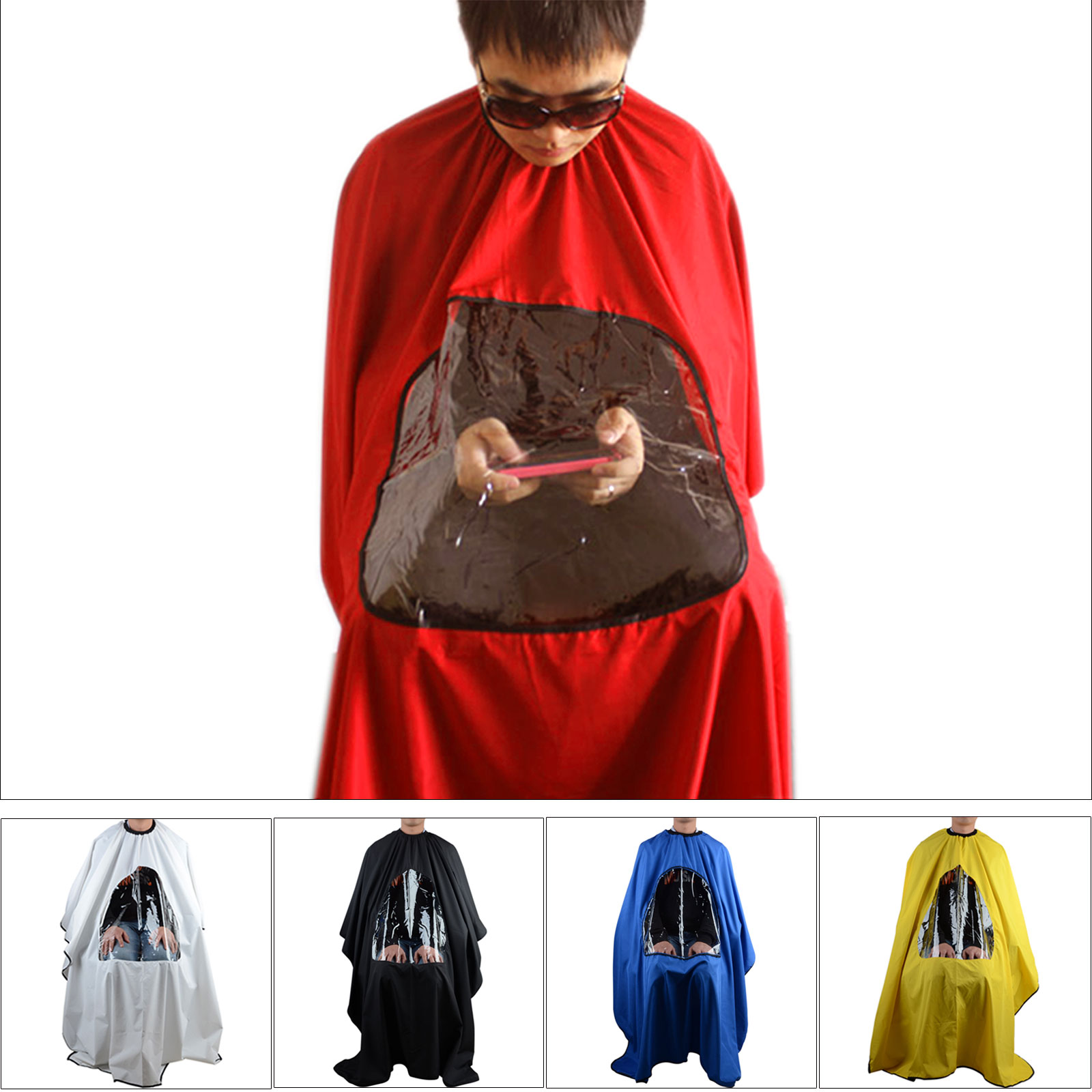 Pro Salon Barber Hair Cutting Gown Cape With Viewing Window Hairdresser  Apron h