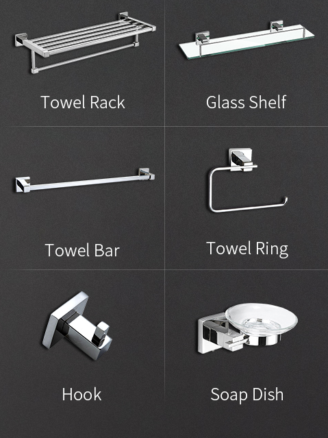 Modern wall-mounted stainless steel bathroom accessories set