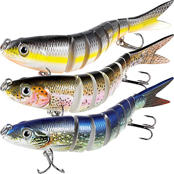 OEM Fishing Lure Set Multi Jointed Swimbait Lifelike Hard Bait Crankbait Treble Hooks 3D Eyes Popper Crankbait Vibe Sinking