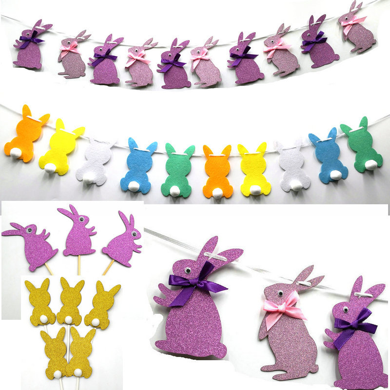 Easter <strong>Rabbit</strong> Flags flowers cake topper Easter party supplies