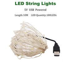 USB 2 м 5 м 10 м 20 м 200 светодиодных струн серебряного провода 3XAA на батарейках для рождества, свадьбы, вечеринки, украшения светодиодных гирлянд,...(Китай)