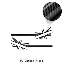 2 шт., наклейка с флагом Union Jack на дверь автомобиля, боковые полоски, наклейка на тело для MINI Cooper S R50 R52 R53 JCW, аксессуары(Китай)