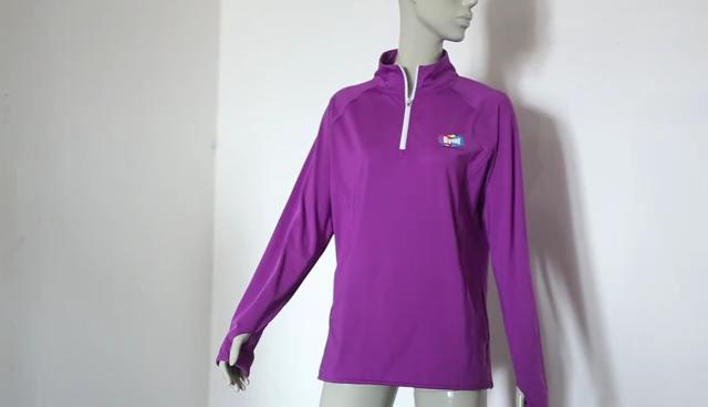 Byval mens blank half zip t-shirt sport running dry fit long sleeve t shirt mesh polyester t-shirt